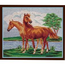 """Вышитая картина """"Лошади"""""""