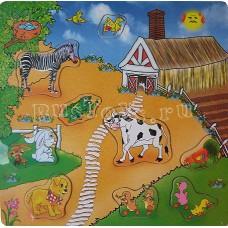 Деревянный пазл Ферма (с зеброй) (М2000)
